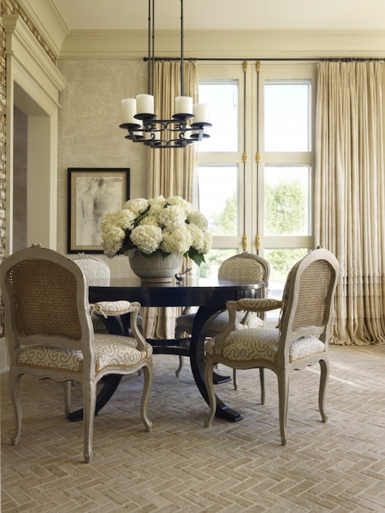 French Dining Room Design With Ruffled Curtains Covering Floor To Ceiling Doors