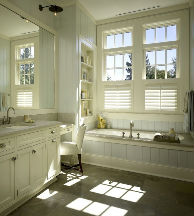 Original  Chic Master Bathroom Design With Ivory Cream Bathroom Cabinets