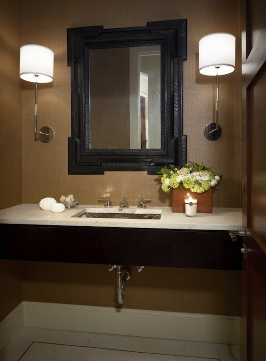 Floating vanity contemporary bathroom luis bustamante for Powder room bathroom vanities