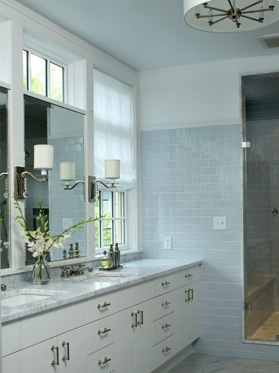 Blue subway tile transitional bathroom lda architects for Blue tile bathroom ideas