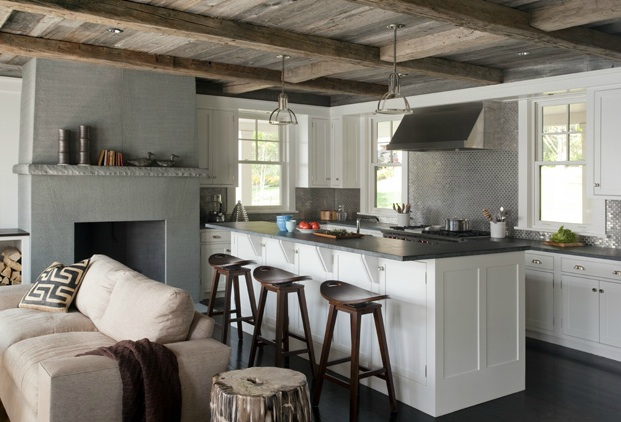 Rustic plank ceiling cottage kitchen lda architects for Rustic white kitchen cabinets