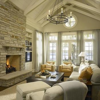 Floor to Ceiling Brick Fireplace, Transitional, living room, Hickman Design Associates