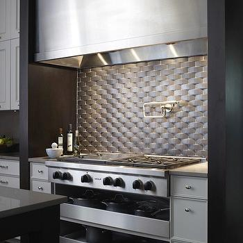 Marble Basketweave Tiles Backsplash Design Ideas