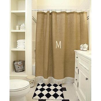 Burlap Shower Curtain with Bullion Fringe, Ballard Designs