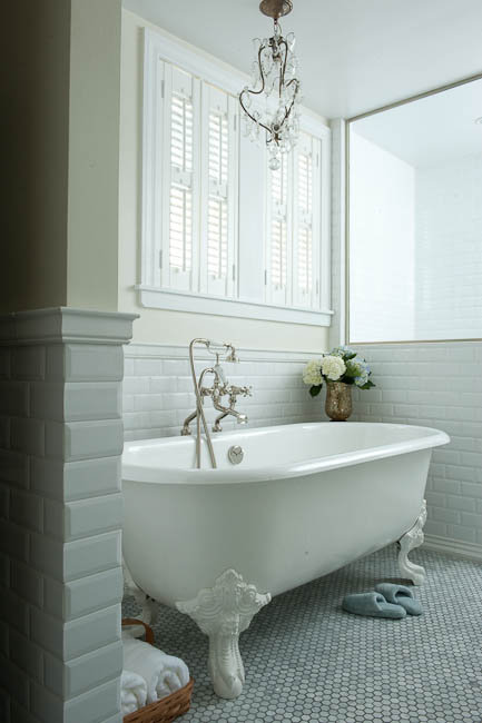 Beveled Subway Tile Traditional Bathroom Mahogany