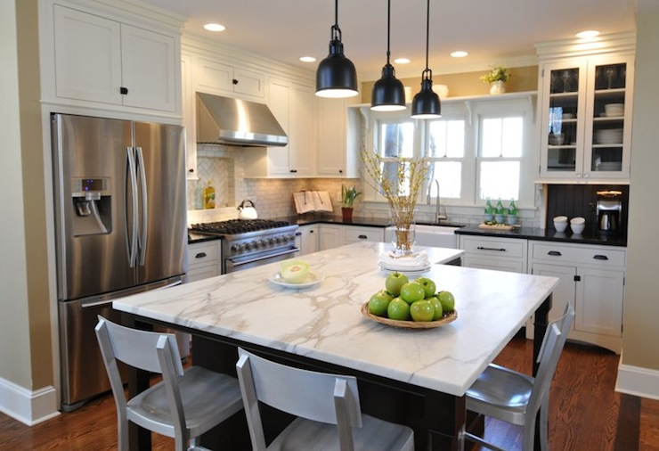 Calcutta Marble Kitchen Island - Contemporary - kitchen - Kitchen ...