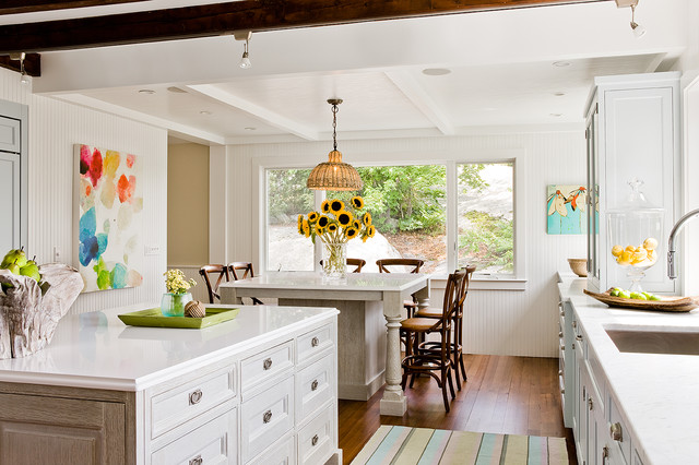 Kitchen With Jamie Young Udaipur Pendant Over Light Gray Wire Brushed Oak  Kitchen Island With French Cafe Barstools.