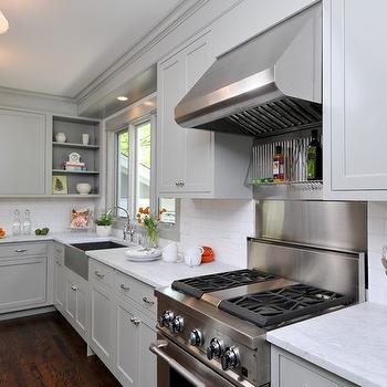 Gray Green Kitchen Cabinets, Contemporary, kitchen, Benjamin Moore Fieldstone, Kitchen Studio of Glen Ellyn