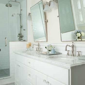 White Double Vanity with Marble Countertops, Traditional, bathroom, Mahogany Builders