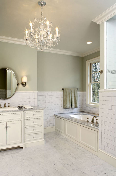 Subway tile backsplash traditional bathroom hendel homes for Bathroom decor light green