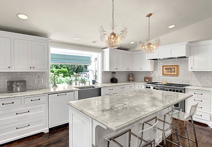 White Kitchen Cabinets With Marble Countertops