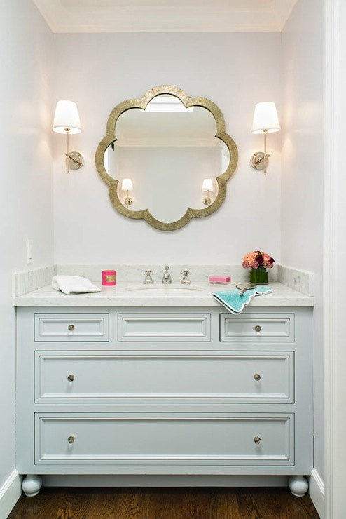 Vanity With Lights For Room : Light Blue Vanity - Contemporary - bathroom - Jute Interior Design