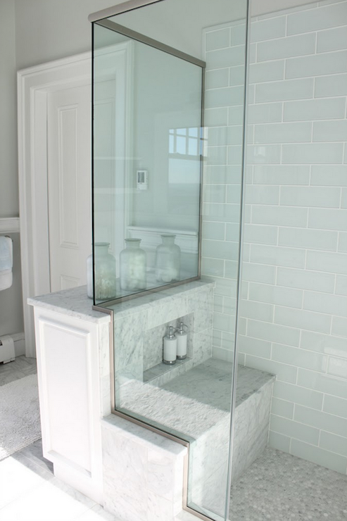 Blue Glass Tile Shower Cottage Bathroom Molly Frey Design