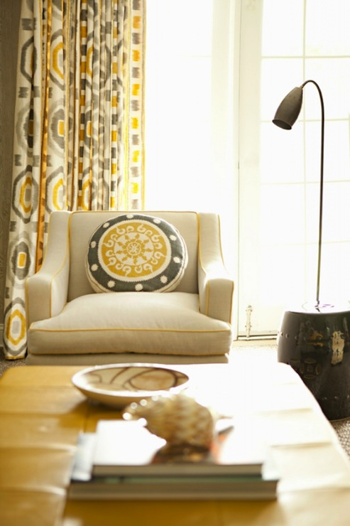 Chic yellow and gray living room with Thom Filicia Prospect in Shadow  fabric curtains.