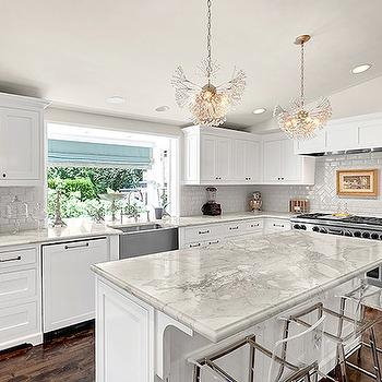 White Kitchen Cabinets with Marble Countertops, Contemporary, kitchen, House Crush