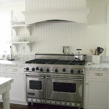 White Beadboard Kitchen, Cottage, kitchen, Molly Frey Design