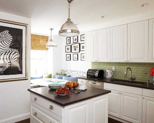 green subway tile backsplash contemporary kitchen