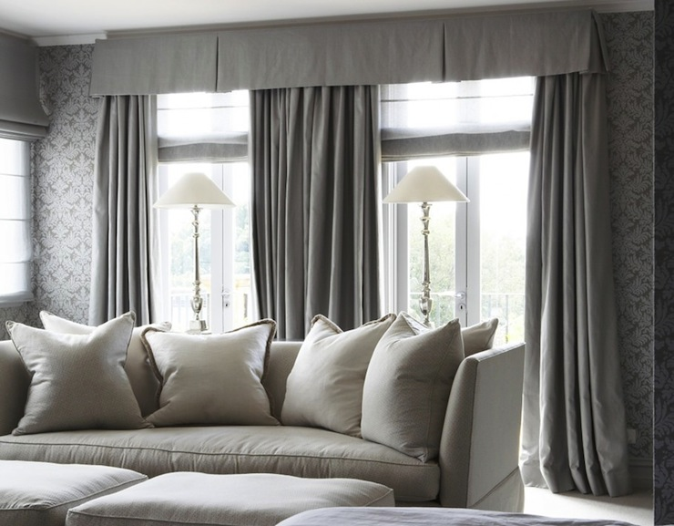 Gray Drapes Traditional Living Room Marco Meneguzzi - Damask living room furniture