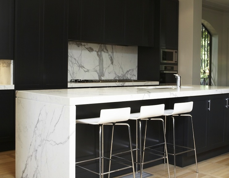 Modern Black Kitchen Cabinets black kitchen cabinets with white countertops - modern - kitchen
