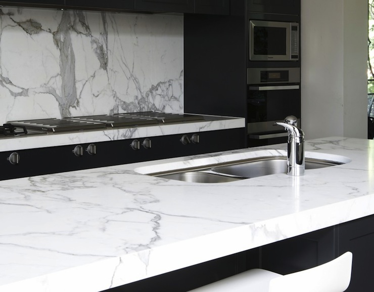 Modern White And Black Kitchens black kitchen island white marble countertop design ideas