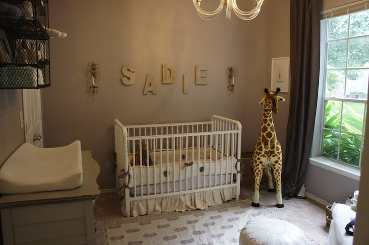 Lilac Gray Paint Color Transitional Nursery Sherwin
