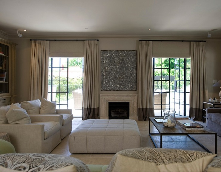 Two Tone Curtains Transitional Living Room Marco Meneguzzi