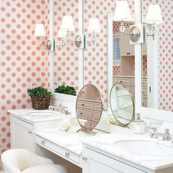 Modern floral wallpaper transitional bathroom for Teen bathroom pictures