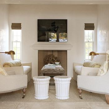 Ivory Wall Paint, Cottage, living room, Pratt and Lambert Seed Pearl, Urban Grace Interiors