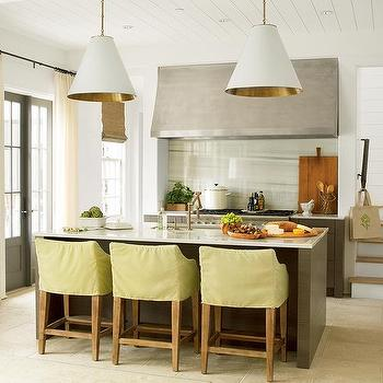 Slipcovered Bar Stools, Contemporary, kitchen, Pratt and Lambert Seed Pearl, Urban Grace Interiors