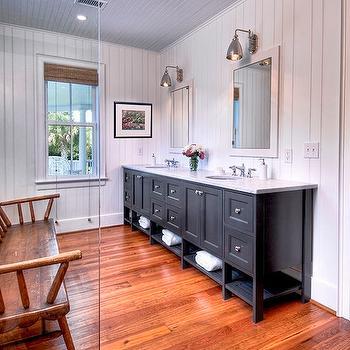 Black Double Vanity, Cottage, bathroom, Herlong & Associates