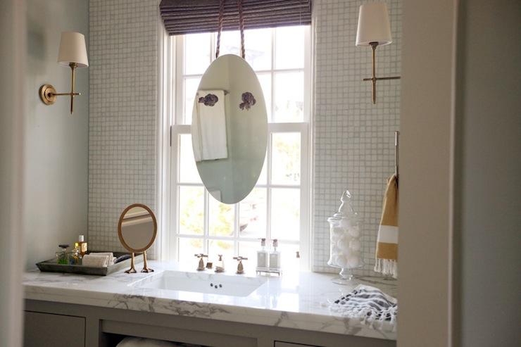 Bathroom Vanity In Front Of Window bathroom mirror in front of window design ideas