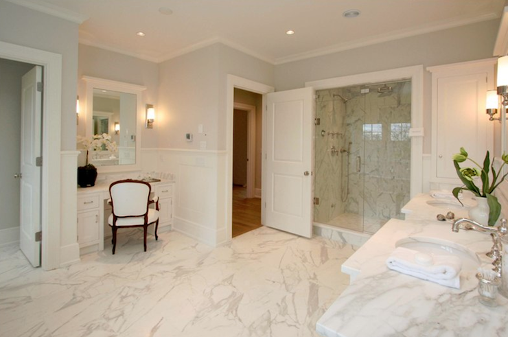 Calcutta Marble Master Bathroom Traditional Bathroom