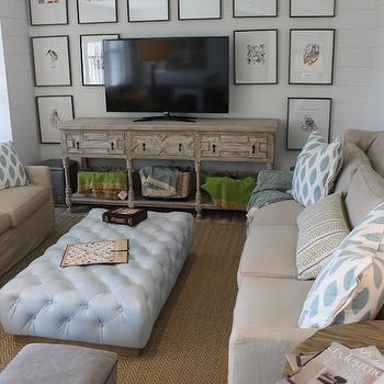 Oversized Ottoman, Cottage, media room, Pratt and Lambert Seed Pearl, Hooked on Houses