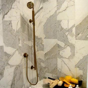 Calcutta Gold Marble Shower, Contemporary, bathroom, Driven by Decor
