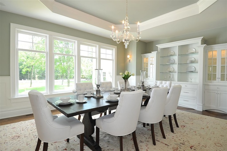 Octagonal recessed ceiling traditional dining room jillian klaff homes - Pale green dining room ...
