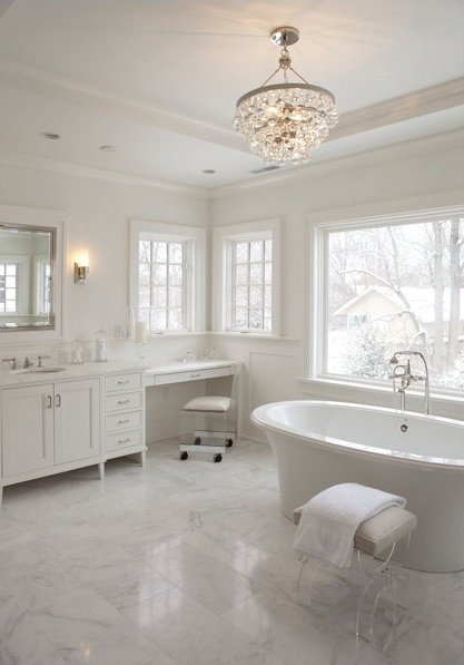Amazing Master Bathroom With Robert Abbey Bling Chandelier Installed On  Bathroom Tray Ceiling.