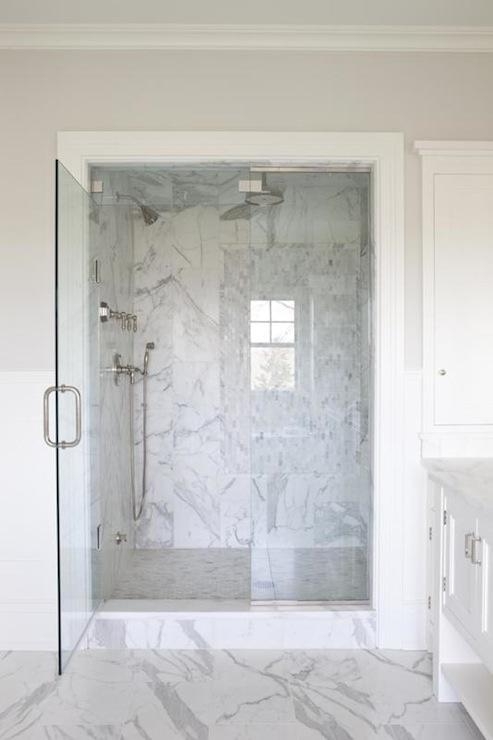 Gray Glass Tile Shower Transitional Bathroom Cardea