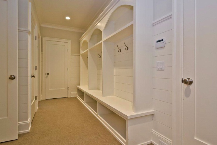 Classic Mudroom With Sisal Rug White Built In Lockers
