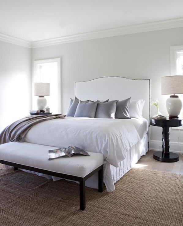 Chic, Cozy Bedroom With Silver Gray Paint Color With Glossy White Bedroom  Crown Molding.