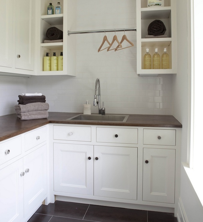 Laundry Room With Butcher Block Countertops Design Ideas