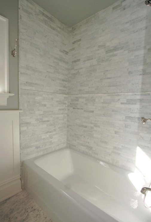 Marble Linear Tiles - Traditional - bathroom - Jillian Klaff Homes