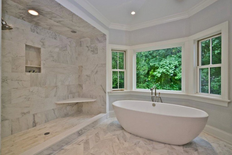 Marble master bathroom contemporary bathroom jillian for Bathroom designs open showers