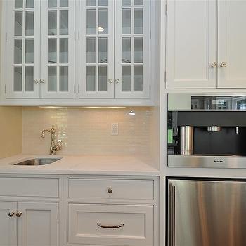 White Glass Tile Backsplash. L Shaped Butler s Pantry   Traditional   kitchen   Jillian Klaff Homes