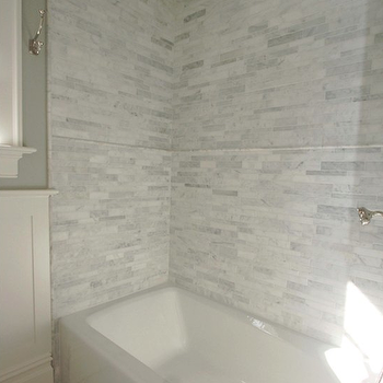 Marble Linear Tiles, Traditional, bathroom, Jillian Klaff Homes