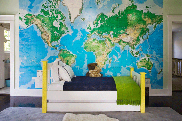 World map wallpaper design ideas fun boys bedroom with toys r us world map mural neon yellow bed navy blue blanket green throw and gray rug publicscrutiny Images