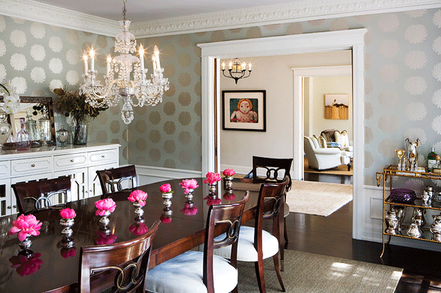 Gorgeous Dining Room With Gray And Gold Romo Kiku Wallpaper Paired White Wainscoted Walls Ornate Crown Molding Millwork