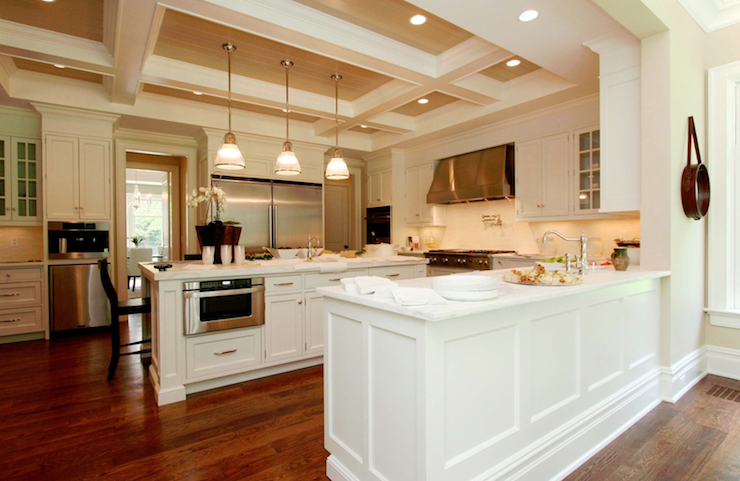 white kitchen cabinets with stainless steel appliances - traditional