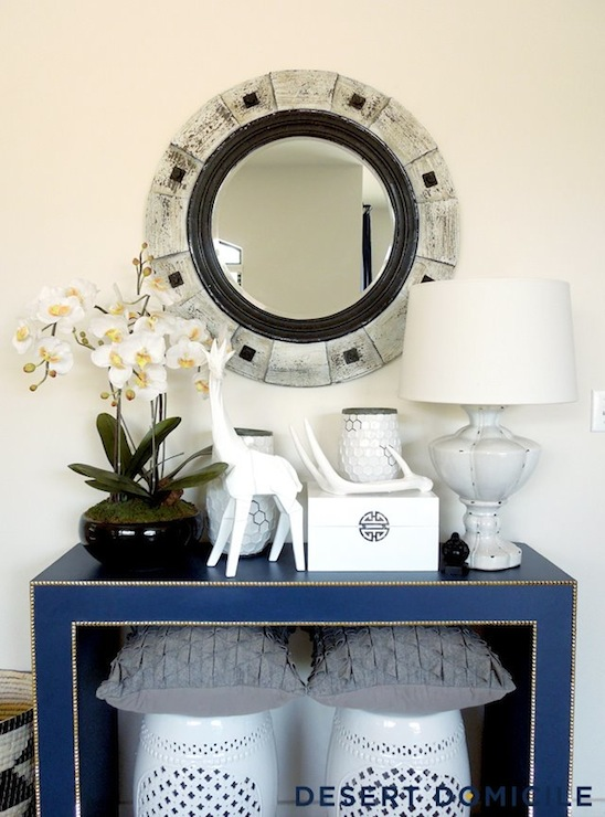 Blue Console Table Eclectic Entrance Foyer Valspar