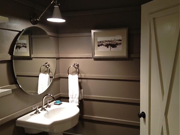 Taupe Powder Room Cottage Bathroom Vreeland Road
