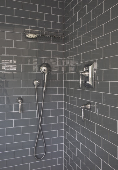 Gray Subway Tile Shower Design Ideas